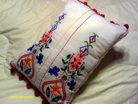 Mija - sweet upcycled pillow made from vintage embroidered girl's dress