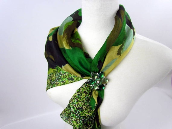 Vintage silk scarf in abstract green woodland floral