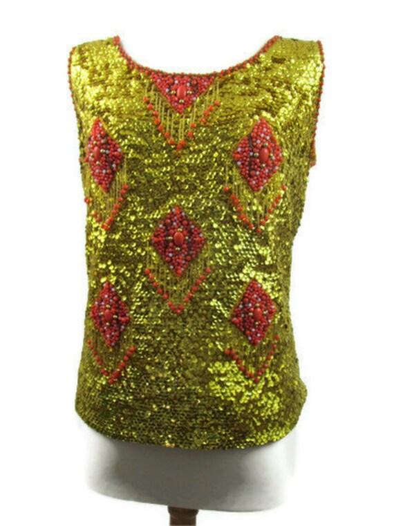 Vintage sequin and bead tank top sweater  Halloween costume