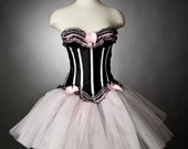 Custom order Burlesque Black and Pink tulle  dress