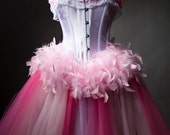Size Medium Pink tulle feather corset dress prom Ready To Ship