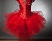 Custom Size red burlesque tutu corset prom dress with rhinestones