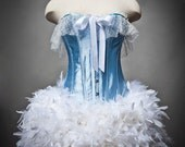Size Small Baby Blue and White Burlesque Feather Corset Dress Ready to Ship
