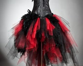 Custom size Red and Black Feather and tulle Burlesque Corset Prom Dress with red satin bow small-XL