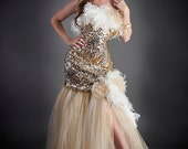 CLEARANCE Size Medium Gold Silver and Ivory Sequin feather and tulle mermaid style tulle prom dress ready to ship OOAK