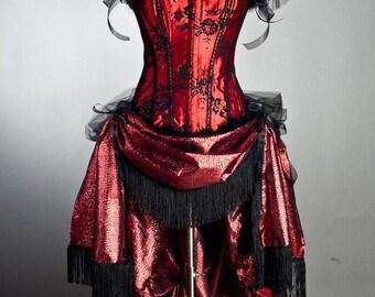 Custom Size Burlesque corset dress, costume, ringmaster, saloon, las vegas showgirl black and red brocade train.