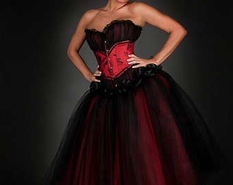 Custom Size red and black lace tea length burlesque corset Prom dress