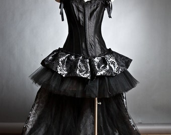 Custom Size black and silver long damask Burlesque tulle Corset dress size Small to XL