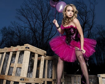 Custom Size black and hot pink sparkle tulle prom dress  available in small-XL