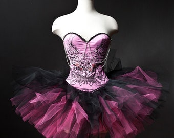 Ready to ship size large Pink and black Corset tutu Prom dress and wing pattern