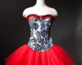 Custom size black white and red Damask burlesque corset prom dress