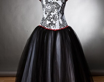 Custom size damask red and black tulle burlesque prom gown