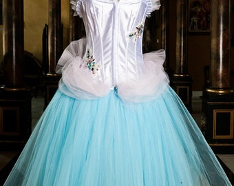 CLEARANCE Size medium blue and pink tutu Burlesque Corset prom dress Ready to Ship