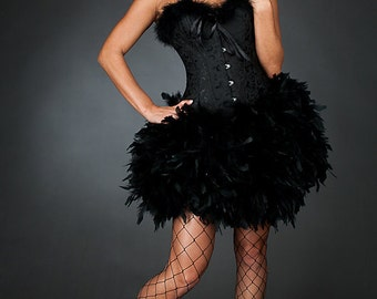 Custom Size Black Swan Corset Feather Dress