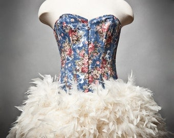 Custom size Floral and Jean Burlesque Feather Corset Dress available in sizes small-X large