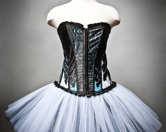 CLEARANCE Size Medium Burlesque Corset Black and Blue tulle dress OOAK with artwork by the Root 222 Crew