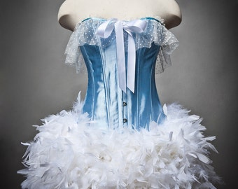 Custom Size Baby Blue and White Burlesque Feather Corset Dress