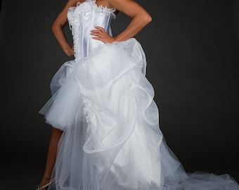 Clearance Size Small white Bridal gown with pearls OOAK Ready to Ship