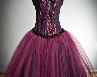 Custom size black and maroon tulle Burlesque Corset Prom dress tea length small-XL
