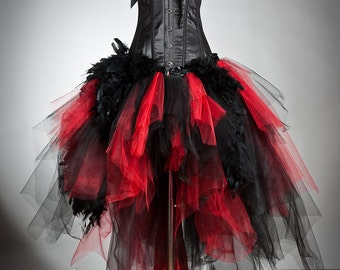Private listing for partyrockzebra14 Red and Black lace and tulle Burlesque Corset Prom Dress High Low design