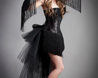 Custom Size Black Long Fringe with Sequins Burlesque Feather Corset Dress and matching gloves S-XL