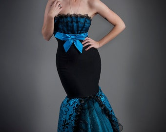 Clearance Size small Black and turquoise damask taffeta and lace mermaid style tulle prom dress ready to ship OOAK