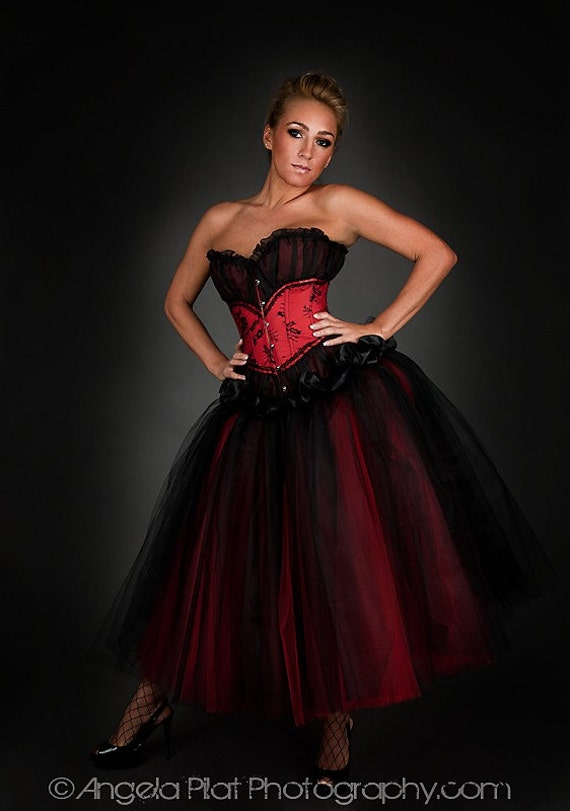 Private listing for Kacee Custom Size red and black floor length burlesque corset Prom dress Final Payment