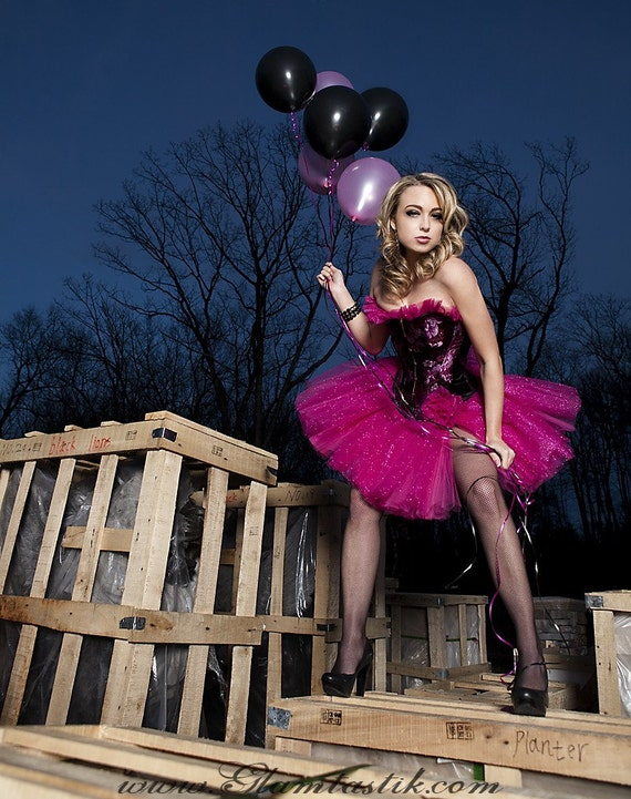 Size Small black and hot pink sparkle tulle prom dress Ready To Ship