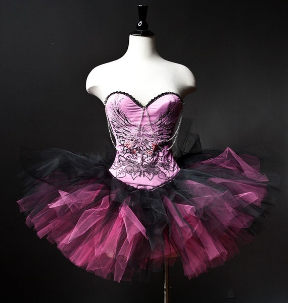 Custom Size Pink and black Corset tutu Prom dress with chain and wing pattern