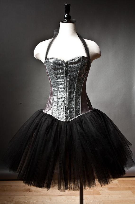 Custom Size silver and black Burlesque sequin tutu corset prom dress