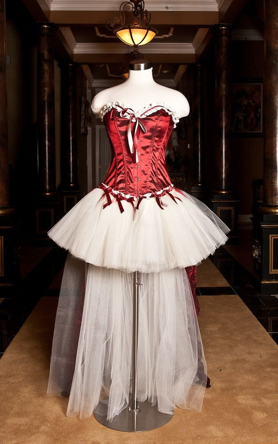 CLEARANCE Size small maroon and ivory tulle corset prom dress ready to ship OOAK