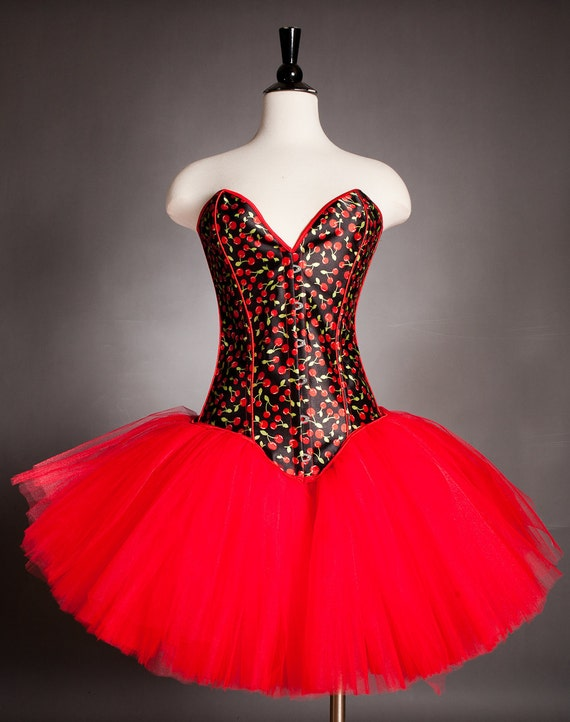 CLEARANCE Size Small Red and Black Cherry pin up tulle Corset dress Ready to Ship