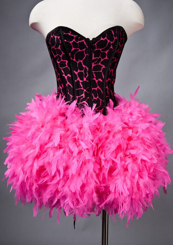 Size Small Hot Pink and Black Animal print corset with full Hot Pink feather skirt Ready to Ship