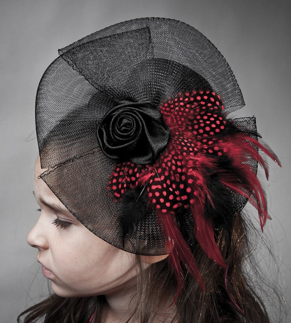 Halloween Gothic Black Mini Top Hat with red guinea and roosterFeathers and black netted veil Ready To Ship