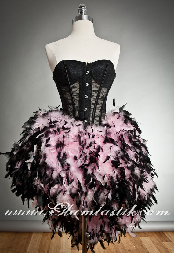 Size Small Black and Pink see through lace Burlesque feather Corset Prom dress Ready to Ship