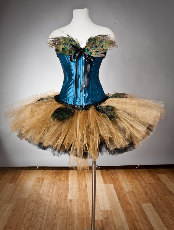 Size Medium turquoise gold and Black burlesque corset tutu feather prom dress ready to ship