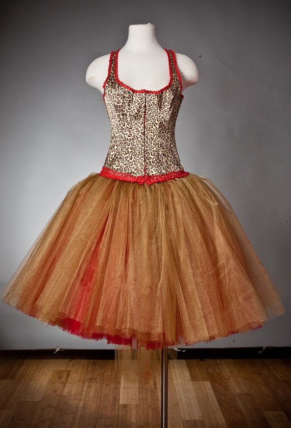 CLEARANCE Size Large Red and Gold Leopard Burlesque corset tutu Prom dress Ready to Ship