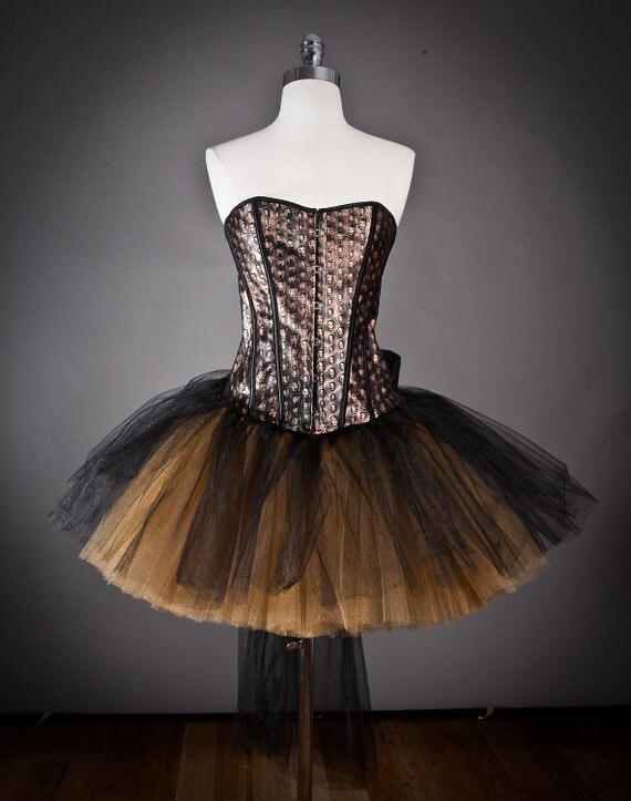CLEARANCE Size Small Black and bronze skull leather pvc  Burlesque tutu Corset Prom Dress Ready to Ship