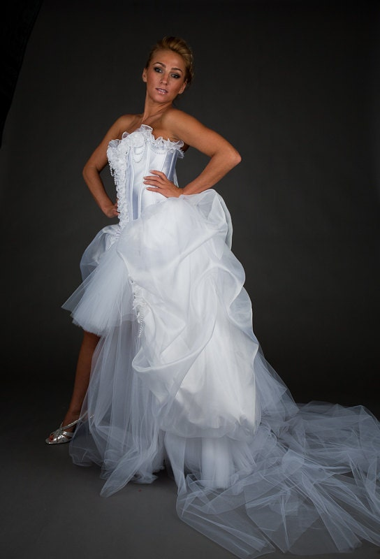 Clearance Size Small White Bridal Gown With Pearls OOAK Ready