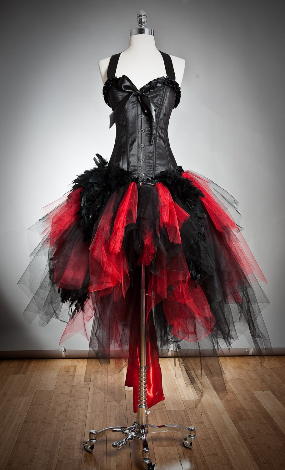 Custom size Red and Black Feather and tulle Burlesque Corset
