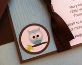 Handmade Baby Boy Shower Invitation with Ribbon - Blue & Brown Owl with Blue Wood Grain Background