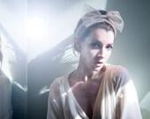 The Cinema Headband in nude shimmer tulle