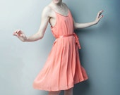 SAMPLE SALE - Ready To Ship Size 4 CORAL - Let Them Eat Meringue Pleated Dress