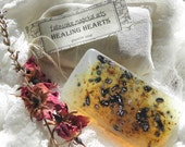 Healing Hearts Glycerin Soap for Emotional Balance & Healing w/Rose Petals, Lavender, Honeysuckle - No Artificial Fragrance or Color