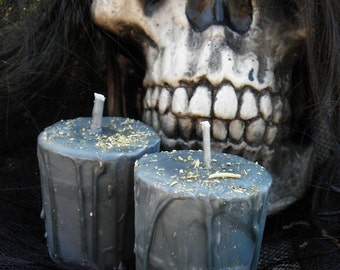 Ritual Candles -  2 Loaded Herbal Black Cloak of Protection Votives