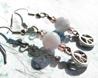 Gemstone Dangle Earrings - Peace Blue Lace Agate