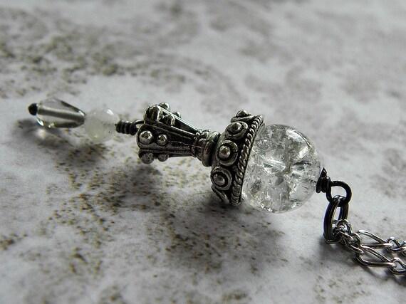 Necklace Crystal Ball Intuition Gypsy No Fear Divination Necklace w/ Smoky Quartz