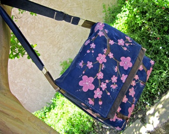 iPad and Tablet PC Case Messenger Style with Hand Painted Cherry Blossoms in Pink, Brown and Blue