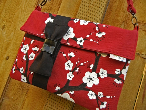 Ipad or Tabet PC Case Slim Messenger Style with Hand Painted Cherry Blossoms in Red, Black and White
