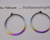 Niobium Earrings Rainbow Colored 1 Inch Hoops